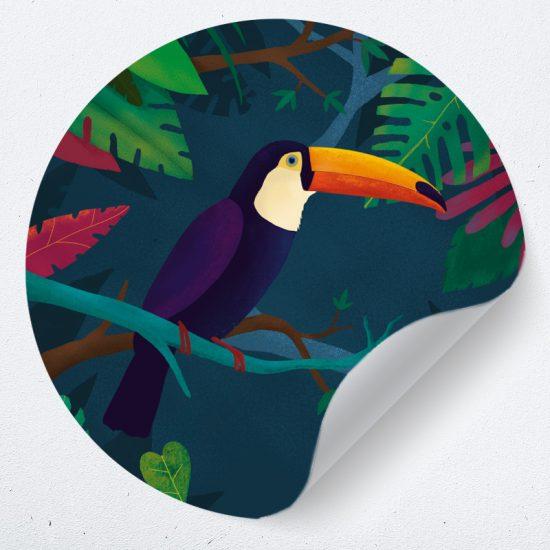 muurcirkel toekan muurdecoratie woonkamer slaapkamer wanddecoratie dieren vogels