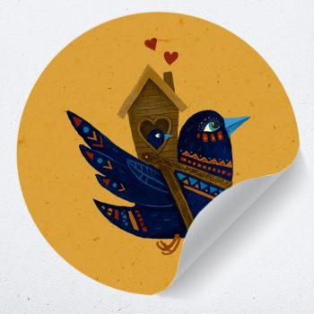 muurcirkel vogel met baby kind liefde hartjes muurdecoratie kinderkamer babykamer 1