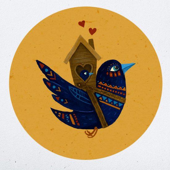 muurcirkel vogel met baby kind liefde hartjes muurdecoratie kinderkamer babykamer