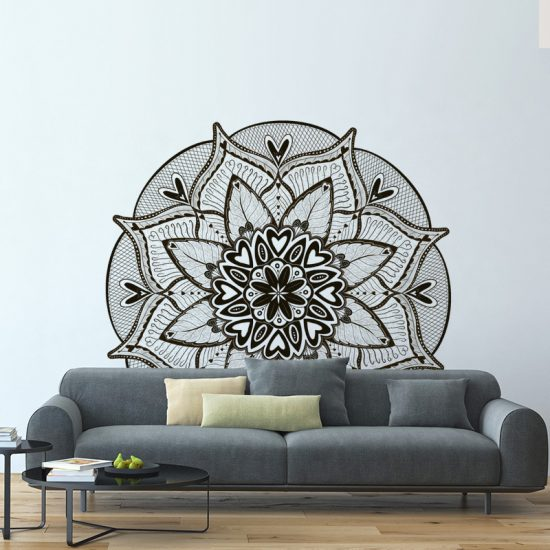 muursticker mandala bank woonkamer slaapkamer boven bed wand decoratie zwart modern stijlvol