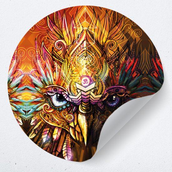 muursticker mandala psychedelisch sy lance kunst psy fi muurdecoratie yoga 2 uil owl