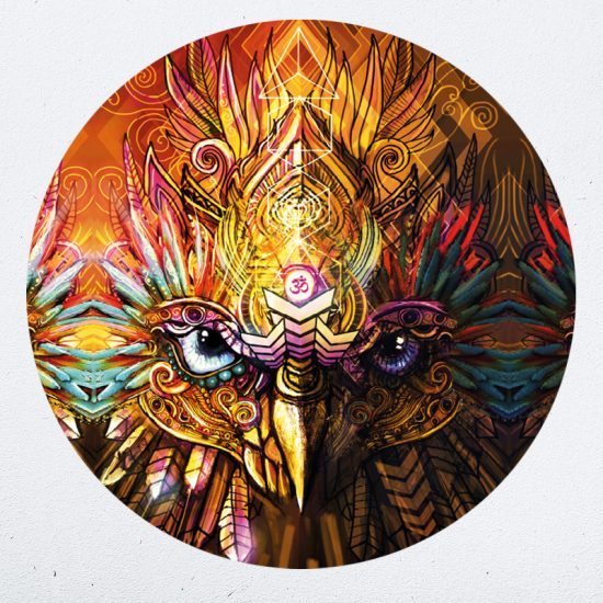 muursticker uilpsychedelisch sy lance kunst psy fi muurdecoratie yoga