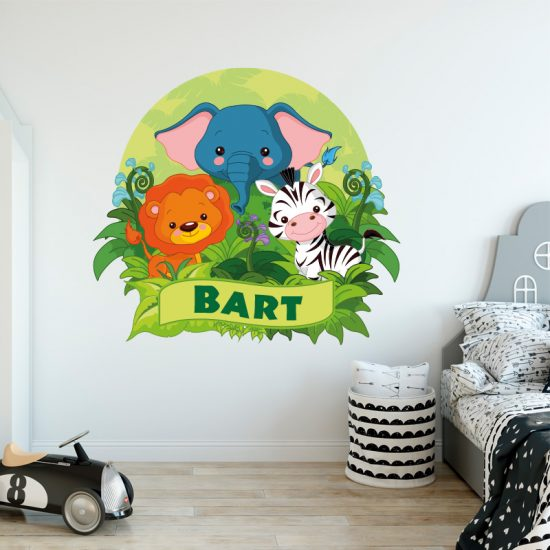 Muursticker muursticker met naam jungle tijger zebra jungle ideeën inspiratie jongenskamer kinderkamer meisjeskamer