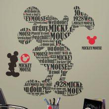 mickey mouse muursticker disney kinderkamer leuk vrolijk tekst zwart