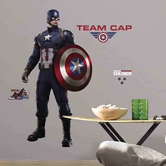 muursticker captain america team cap marvel