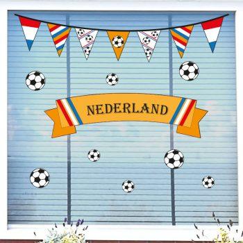 ek raamsticker oranje set nederland voetbal raamdecoratie koningsdag wk