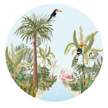muurcirkel behangcirkel muurdecoratie wanddecoratie kunstwerk woonkamer schilderij inspiratie ideeen kinderkamer jungle toekan