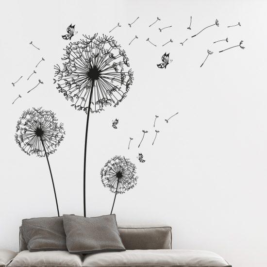 muursticker set paardenbloemen zwart wit vlinders pluisjes woonkamer keuken ideeen inspiratie